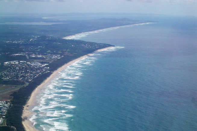 Aerial view of Marcoola beach