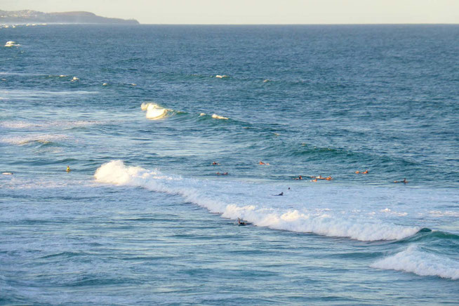 Late afternoon surfers
