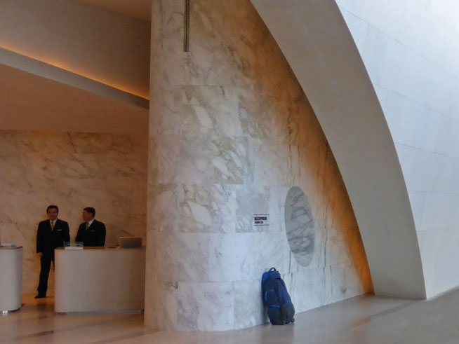 Marble features in the foyer at the Incheon Grand Hyatt Hotel
