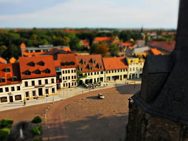 Blick auf den Köthener Markt von der Jakobskirche aus