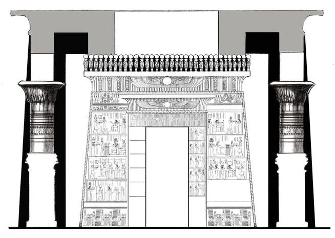 Übersichtszeichnung des Geburtshauses von Kleopatra VII. in Hermonthis (unter Verwendung von LD IV 64 b-c ), (c): Daniela Rutica: