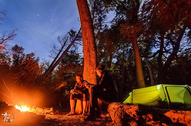 Argentinien - Südamerika - Reise - Motorrad - Honda Transalp - Parque Nacional los Alerces - romatisches lagerfeuer am  am Lago Futalaufquen