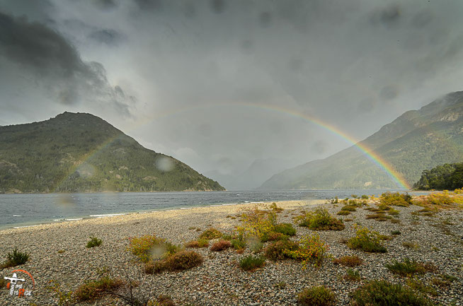Argentinien - Südamerika - Reise - Motorrad - Honda Transalp - Parque Nacional los Alerces - Regenbogen am Lago Futalaufquen