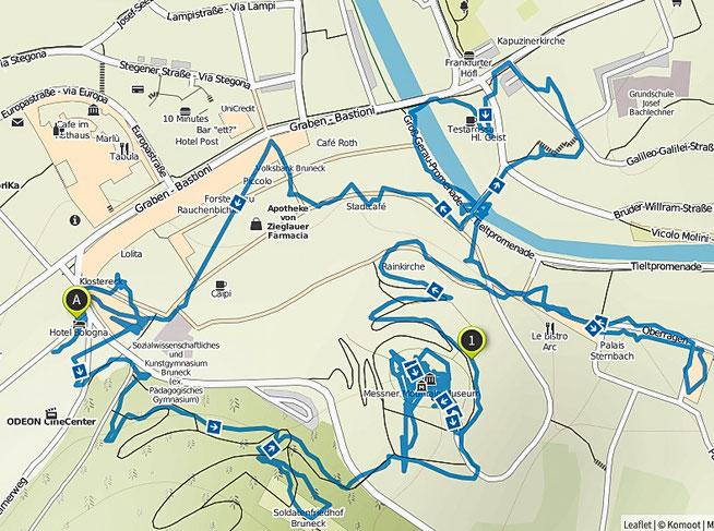 Bild: Wanderroute durch Bruneck auf dem Stadtplan