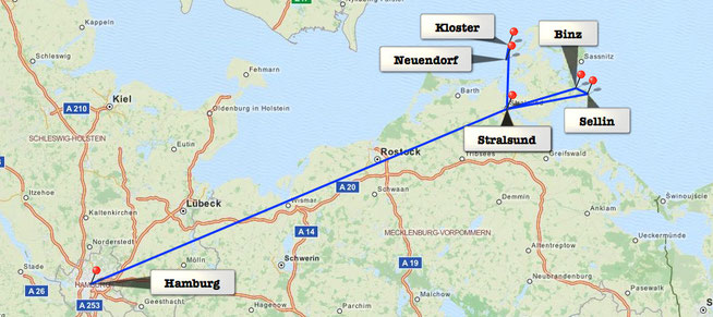 From Hamburg to Stalsund and the Island Hiddensee via the Island Rügen