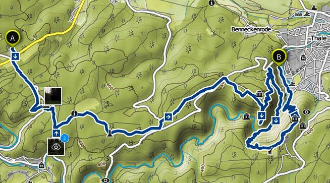 Bild: Karte der Wanderung Altenbrak nach Thale