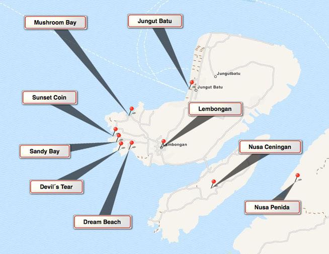 Bild: Karte von Nusa Lembongan