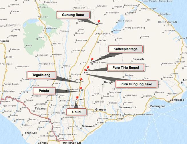 Bild: Karte von Tour 2 auf Bali