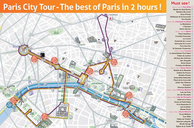 Bild: Karte der Sightseeing Tour mit Foxity durch Paris