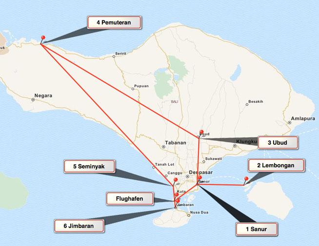 Bid: Karte von Bali mit den Übernachtungsorten