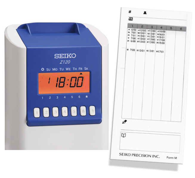 SEIKO PRECISION Z 120 mit Stempelkarte Form M  - www.hoelling.info