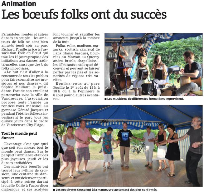 Est Républicain 26 juillet 2015 - Boeuf folk au Parc Richard Pouille à Vandoeuvre lès Nancy