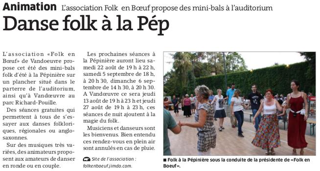 Est Républicain 11 août 2015 - Boeuf folk au parquet du Parc de la Pépinière à Nancy