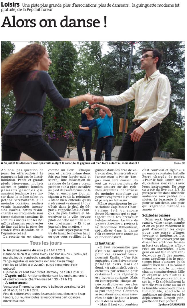 Est Républicain 30 juillet 2015 - Folk en Boeuf partage le parquet du Parc de la Pépinière à Nancy avec d'autres associations de danse
