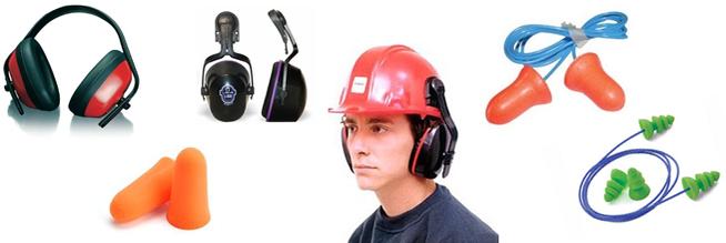 Protectores auditivos EPIs en el entorno laboral.