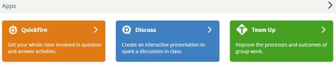 trzy rodzaje aplikacji do tworzenia quizu: Quickfire (odpowiedzi na pytania); Discuss (quiz w formie prezentacji, z możliwością udzielania odpowiedzi);Team Up (tworzenie prezentacji grupowej)