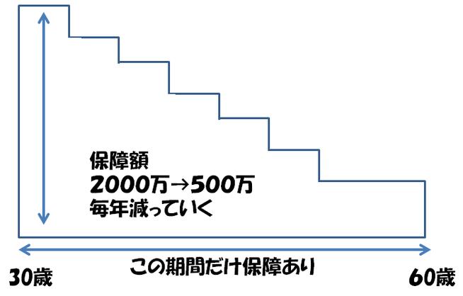 逓減定期保険の仕組み図