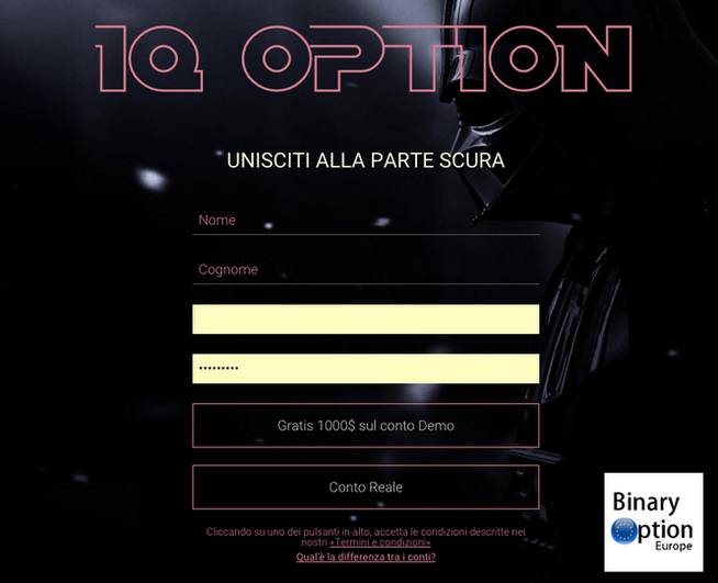 IQ OPTION STAR WARS DARK SIDE