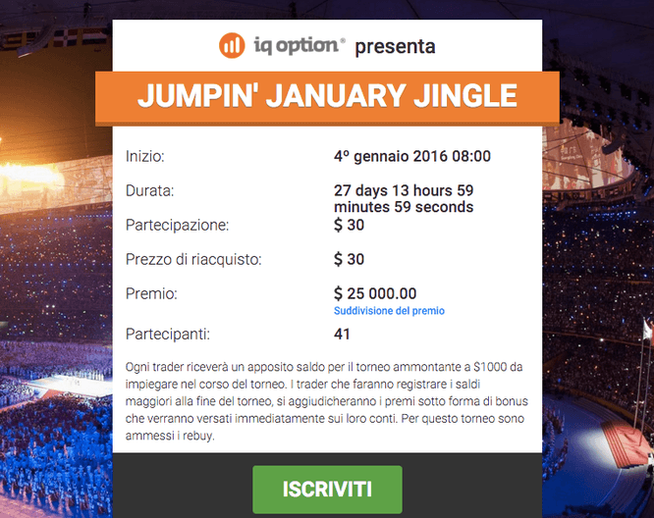 Primo torneo 2016 di IQ Option