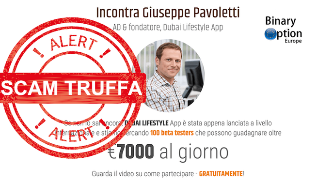 dubai lifestyle app giuseppe pavoletti truffa
