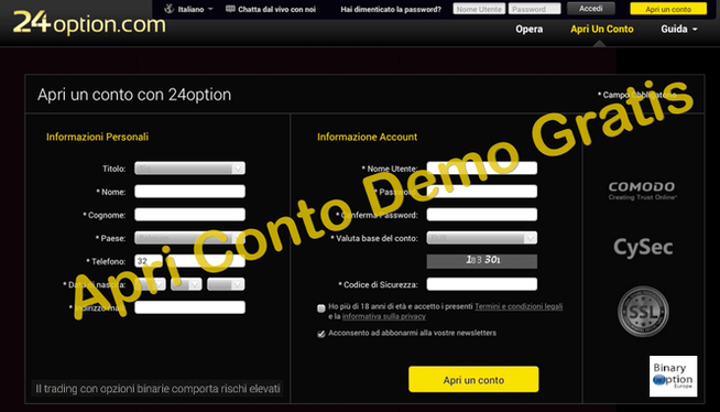 conto demo opzioni binarie gratis con 24option