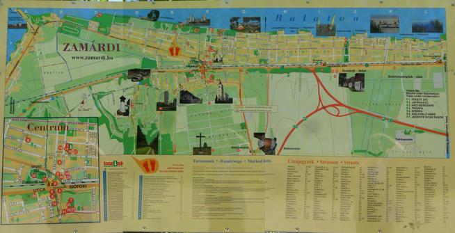 Der Stadtplan von Zamárdi.