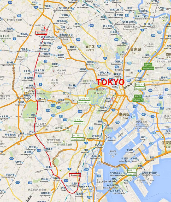 Ikebukuro - Shinagawa - en rouge (cliquer sur la carte pour agrandir)