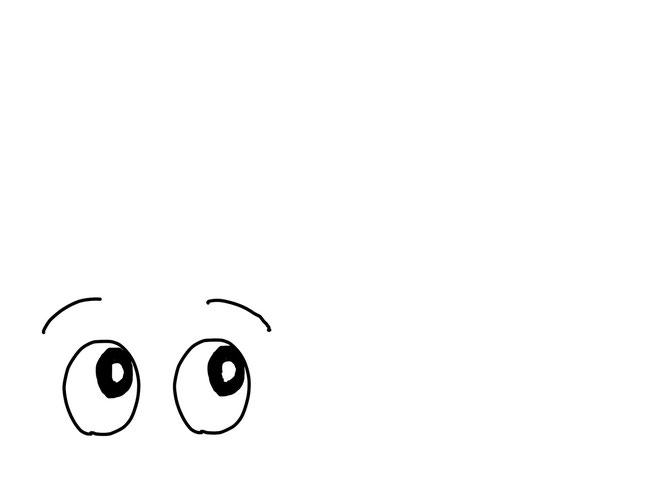 アイコン 「考える」 (作: 塚原 美樹) ~ 眉をやや下がり気味に描く