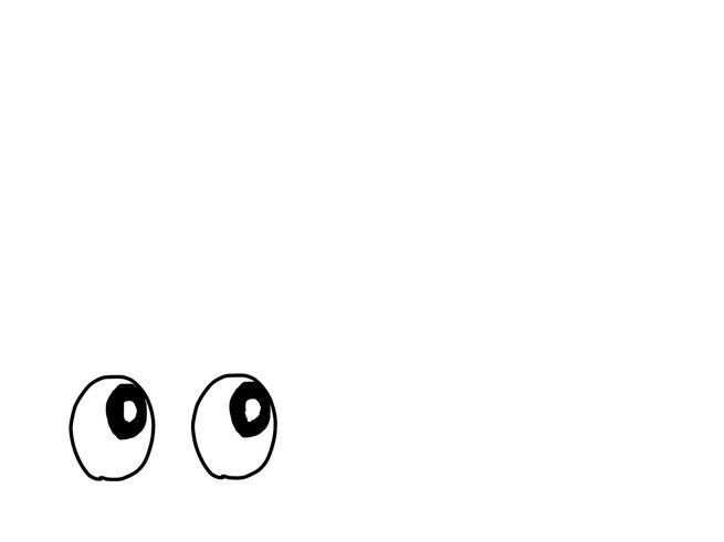 アイコン 「考える」 (作: 塚原 美樹) ~ 右上を見ているように黒目を描く