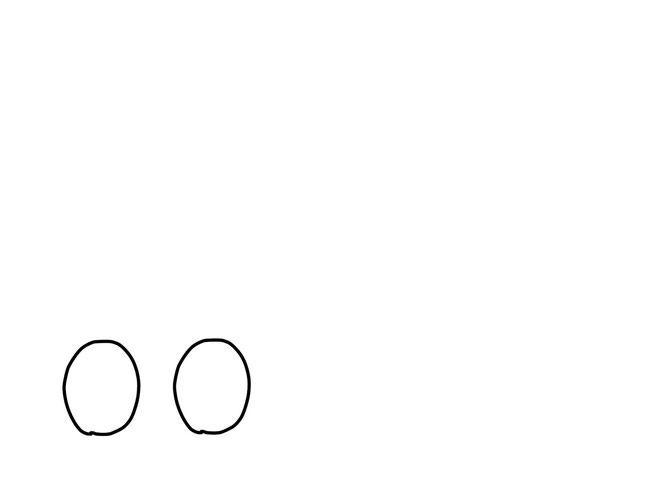 アイコン 「考える」 (作: 塚原 美樹) ~ 目の輪郭を縦長に描く