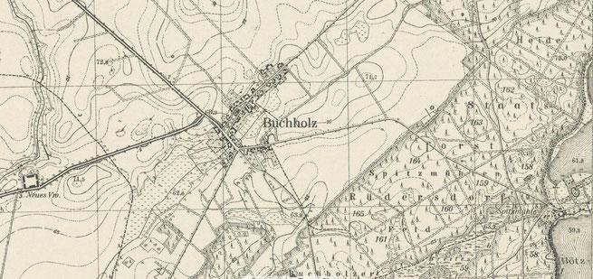 Karte von Buchholz um 1940