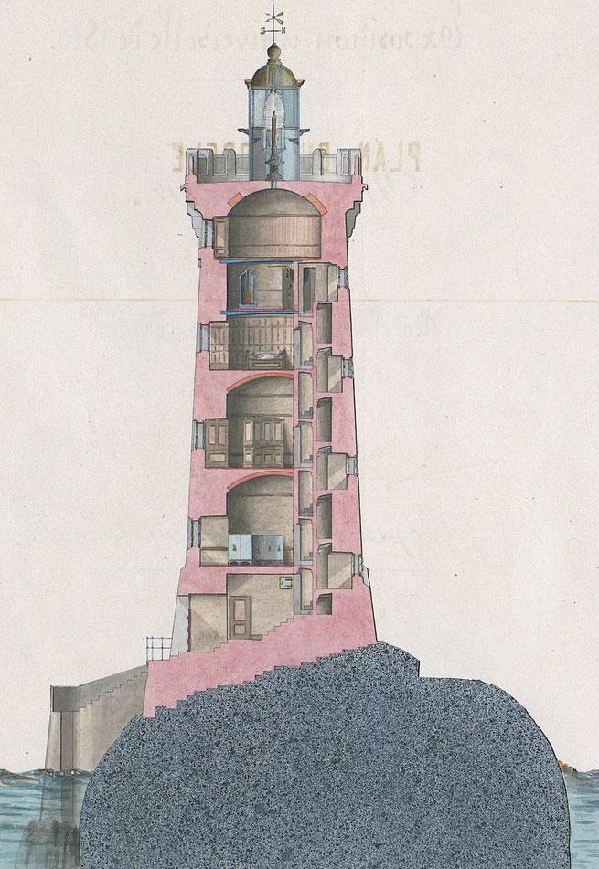 Plan en coupe du phare du four réalisé par les ingénieurs Planchat et Fenoux. La lanterne est à 26,70 au dessus du niveau des pleine mers de vives-eaux