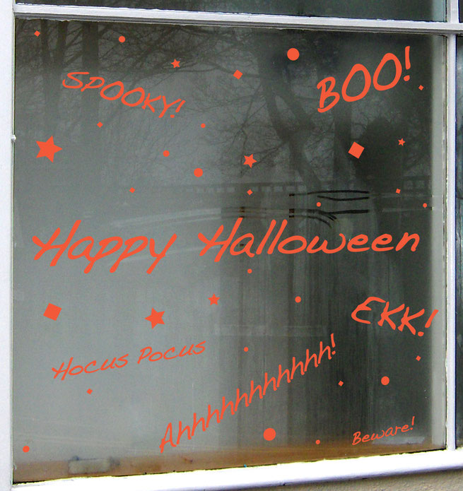 Happy Halloween 2015 words, Spooky! Boo! Hocus Pocus, Ahhhhhhhhhhhh! Ekk! Beware! with stars and sparkly magic.