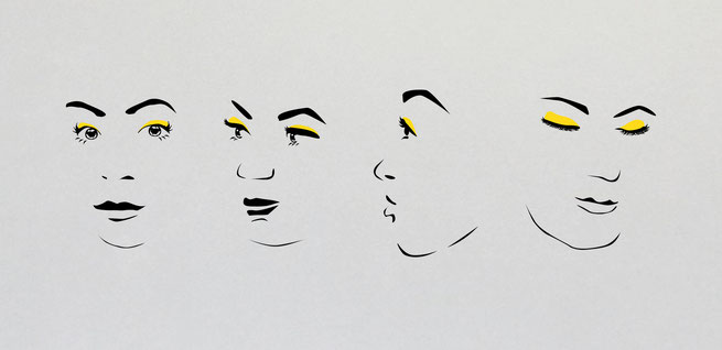 Four female faces wall art design. Beautiful woman's eyes. Comes in my colours with eye shadow available in different colours.