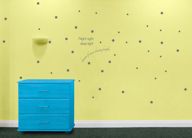Night Night Sleep Tight Dream of Stars Shining Bright nursery wall art decal set From wallartcompany.co.uk