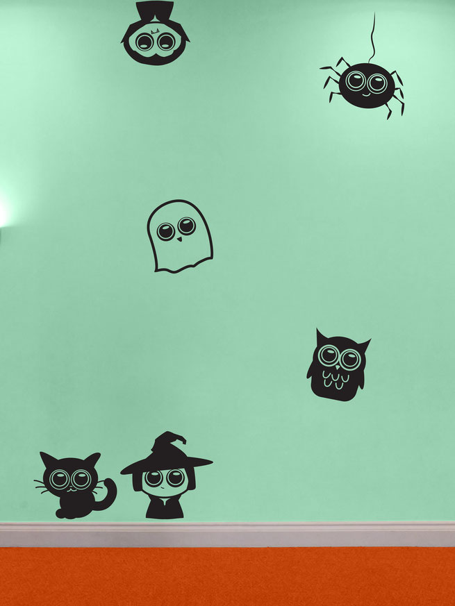 Collection of cute Vinyl decals featuring cute Cat, Cute Witch, Cute Ghost, Cute Owl, Cute Spider and Cute Vampire. Perfect for a children's party without being too scary.