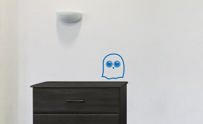 Easy to stick on Halloween themed cute Ghost is available from www.wallartcompany.co.uk