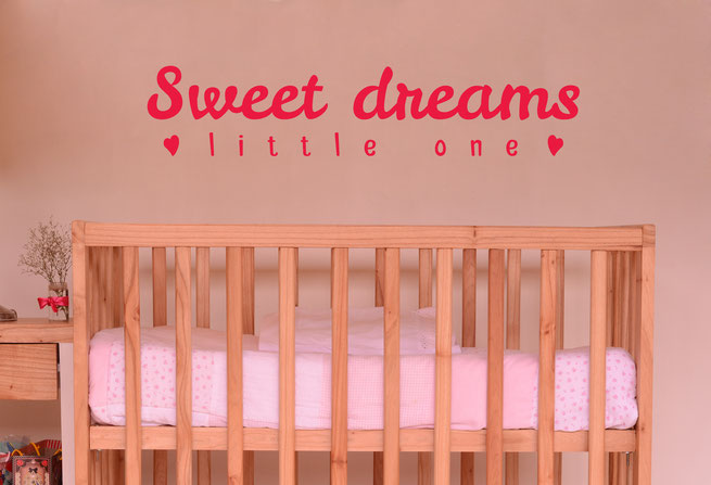 Sweet Dreams Little One with cute little love hearts vinyl wall art quote From wallartcompany.co.uk