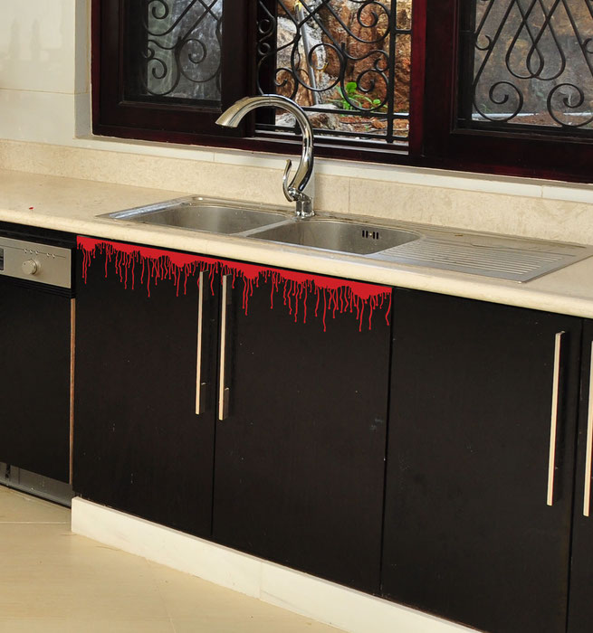 Easy to stick on Halloween themed creepy dripping blood. These kitchen cupboards look like they have been possessed. From www.wallartcompany.co.uk