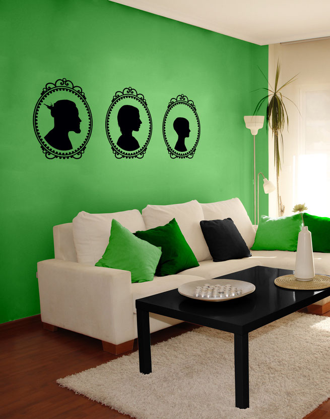 Your own portrait family Victorian cameo from www.wallartcompany.co.uk Vinyl stickers for walls, put your own face on your wall for a unique design.
