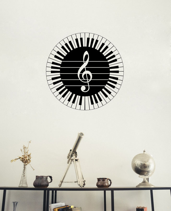 Circle with 88 piano keys around the outside, inside is a treble clef on note lines. Wall art decal from www.wallartcompany.co.uk