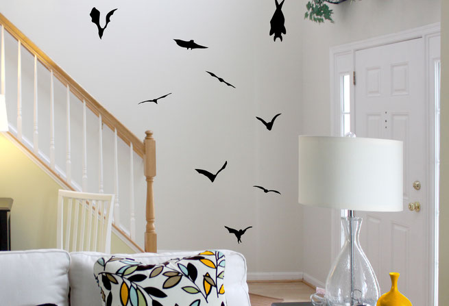Vinyl wall art stickers Halloween themed bats flying a roosting in a hall way.