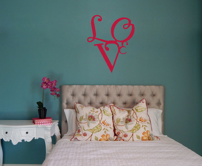 Love quote letters a shaped in a love heart vinyl wall art decal from www.wallartcompany.co.uk comes in loads of colours