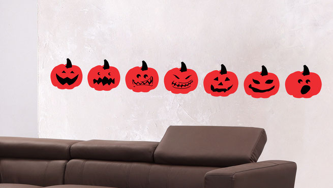 Pumpkin wall art stickers with scary, happy, spooky and grumpy faces. For walls and windows.