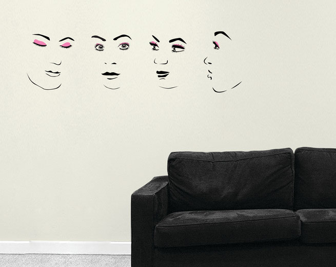 Beautiful women eyes, lips and portraits vinyl wall art stickers. Faces come in many colours and two different size options.