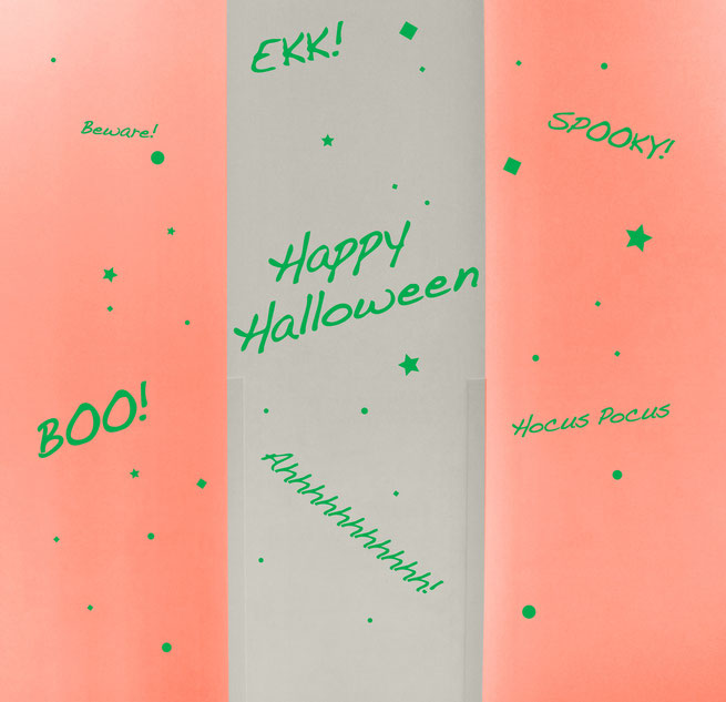 Easy to stick on Halloween themed words, with Happy Halloween, spooky, Boo! Ahhhhhh! Hocus Pocus, Ekk! and Beware!  available from www.wallartcompany.co.uk
