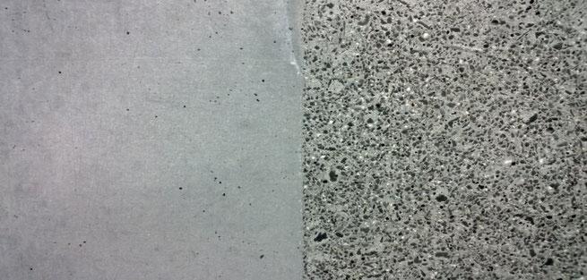 Absäuern statt Sandstrahlen, Beton bleibt glänzend, Gesteinskörnung wird freigelegt, Zementmilch entfernt