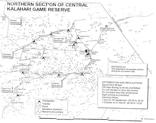 map central kalahari national park botswana