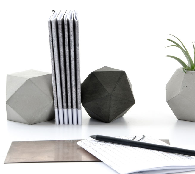 Concrete Modular Sculpture Set of Icosahedron and Cuboctahedron by PASiNGA