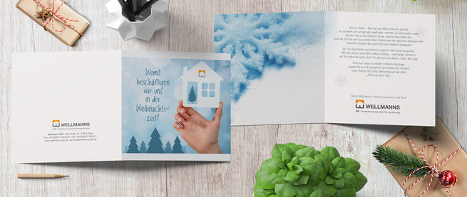 Individuell gestaltete Weihnachtskarte mit einmaliger Textung.